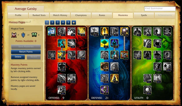 League of Legends - Screenshot - Mastery Pages